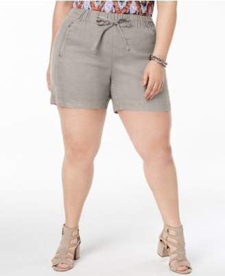 INC International Concepts I.N.C. Plus Size Drawstring Shorts, Created for Macy's