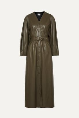 Nanushka - Femme Belted Vegan Leather Midi Dress - Army green