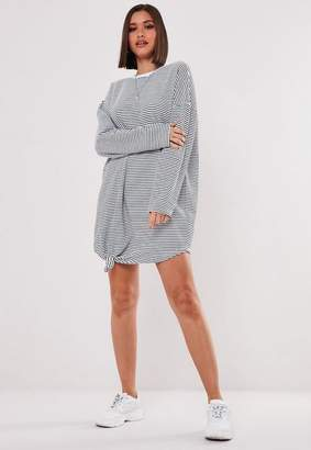 Missguided White Oversized Stripe Sweatshirt Dress