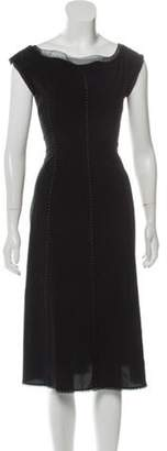 Alberta Ferretti Mesh-Trimmed A-Line Dress Black Mesh-Trimmed A-Line Dress