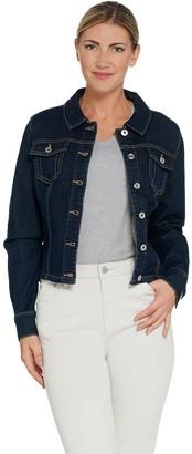 Du Jour Button Front Denim Jacket with Ruffle Back Detail