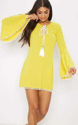 PrettyLittleThing Yellow Pom Pom Lace Trim Fluted Sleeve Shift Dress