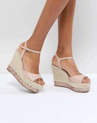 Faith Liddy Pink Glitter Espadrille Wedges