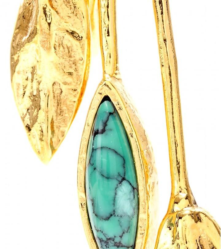 Aurelie Bidermann MALIBU BLUE GOLD-PLATED CLIP-ON EARRINGS