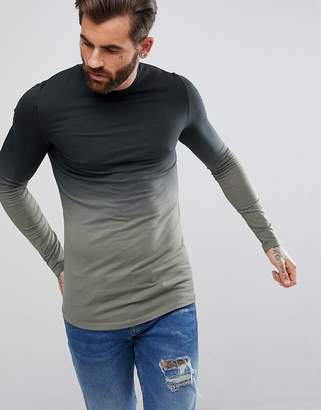 Asos DESIGN Longline Muscle Long Sleeve T-Shirt With Dip Dye And Curved Hem