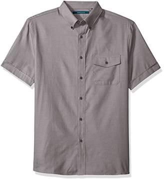 Perry Ellis Men's Solid Textured Oxford Single Pocket Shirt