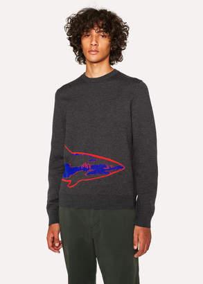 Paul Smith Men's Dark Grey Merino Wool Sweater With 'Shark' Intarsia