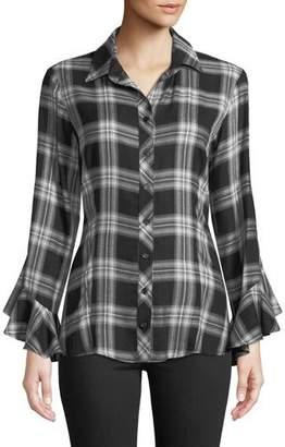 Finley Carmella Ruffle-Sleeve Button-Front Plaid Blouse