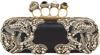 Alexander McQueen Jewel Four Ring Black Clutch