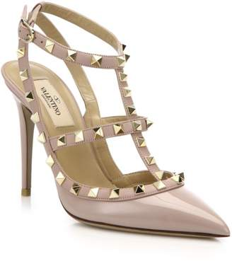 Valentino Rockstud Patent Leather Ankle-Strap Pumps