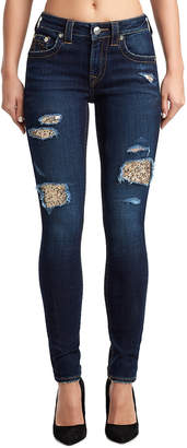 True Religion WOMENS SEQUIN RIPS JENNIE CURVY SKINNY JEAN