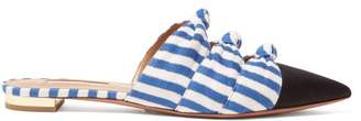 Aquazzura Mondaine Knotted Striped Backless Loafers - Womens - Blue White