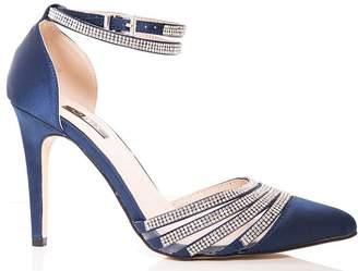 a0f6690a4686 Quiz Navy Diamante Strap Point Court Shoes