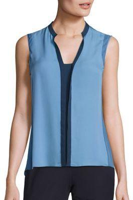 Elie Tahari Karrie Colorblock Silk Blouse $198 thestylecure.com