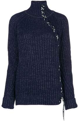 Karl Lagerfeld lace-up sparkle sweater