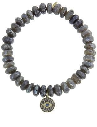 Sydney Evan Evil Eye Disc On Diamond Labradorite Beaded Bracelet