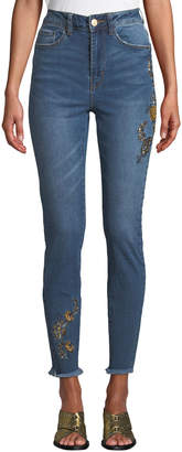 Dex High-Rise Embroidered Fray-Hem Skinny Jeans