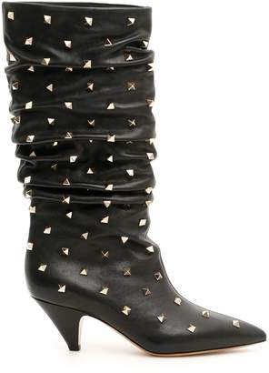 Valentino Boots With All-over Rockstuds