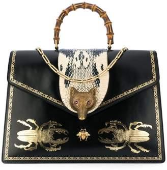 Gucci Broche beetle print top handle bag