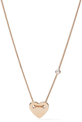 Fossil Engravable Heart Rose Gold-Tone Steel Necklace