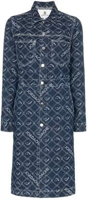 Jordache denim mid-length button-down coat