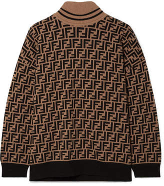 Fendi Intarsia Cashmere Turtleneck Sweater - Brown