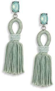 Oscar de la Renta Short Silk Tassel Clip-On Earrings $390 thestylecure.com