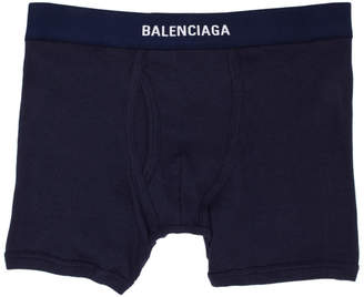 Balenciaga Three-Pack Navy Logo Boxer Briefs