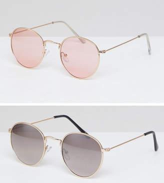 Asos DESIGN round sunglasses 2 pack in gold & rose gold metal save