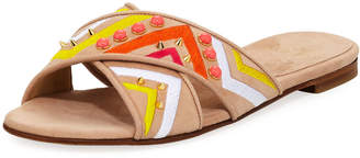 Stuart Weitzman Buttoncandy Embroidered Suede Sandals, Light Beige