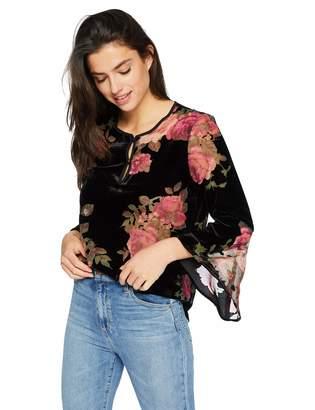 Karen Kane Women's Floral Velvet Burnout TOP