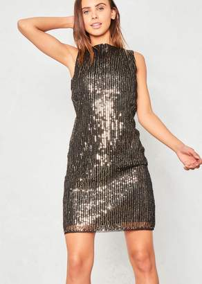 1f3a5067c7c Missy Empire Jazlyn Gold Sequin High Neck Mini Dress