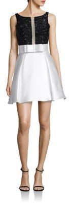 Jovani V-Back Embellished Fit-&-Flare Dress $450 thestylecure.com