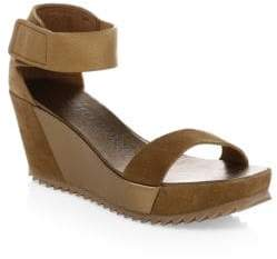 Pedro Garcia Fidelia Suede& Leather Wedge Heels