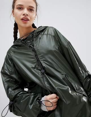 Ivy Park Lace Up Half Zip Rain Jacket In Khaki