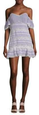 NBD Paige Lace Cold-Shoulder Flounce Dress