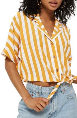 Topshop Stripe Tie Front Cropped Collar Shirt