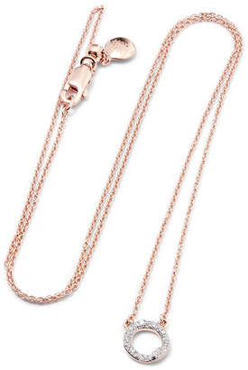 Monica Vinader Riva Rose Gold Vermeil Diamond Necklace - one size
