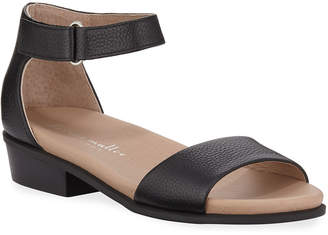 Bettye Muller Concept Bello Pebbled Leather Ankle-Strap Sandals