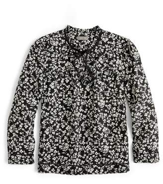 J.Crew Point Sur Blossom Print Silk Popover Blouse