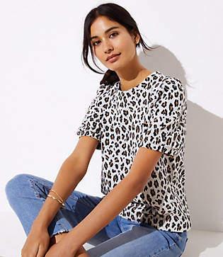 LOFT Petite Leopard Print Knit Puff Sleeve Top