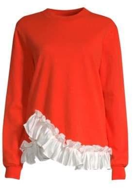 Clu Ruffle Hem Cotton Sweatshirt