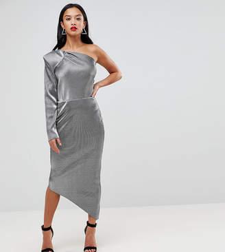 John Zack Petite One Shoulder Metallic Pencil Dress