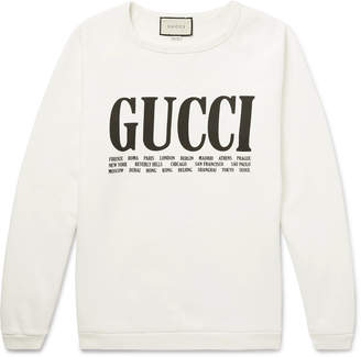 Gucci Printed Cotton-Jersey Sweatshirt - Men - White