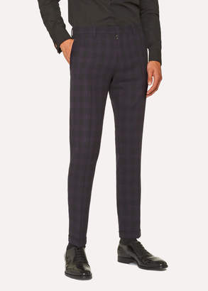Paul Smith Men's Slim-Fit Purple And Black Jacquard Check Pants