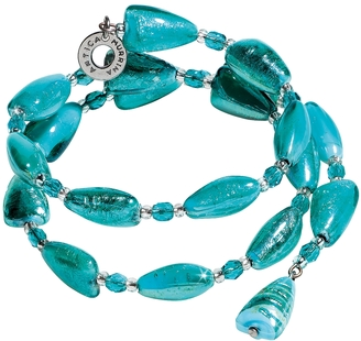 Antica Murrina Marina 1 Rigido - Turquoise Green Murano Glass and Silver Leaf Bracelet $102 thestylecure.com