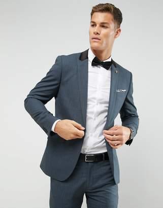 Farah Smart Skinny Suit Jacket In Melange With Satin Collar