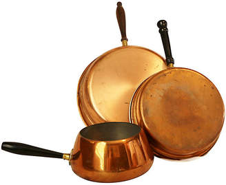 One Kings Lane Vintage Copper Pans - Set of 3 - Reclaimed Collection