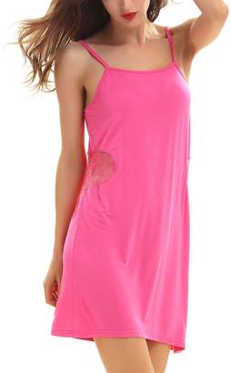 Yulee Womens Full Slip Camisole Dress Adjustable Straps Sleep Shirt , S