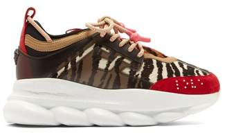 Versace Chain Reaction Animal Pattern Trainers - Womens - Black Red